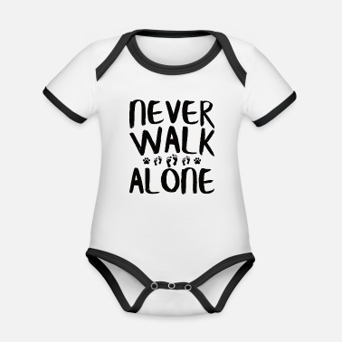 Companion Dog NEVER WALK ALONE | Dogs Sayings Footprint Paw - Organic Contrast Baby Bodysuit