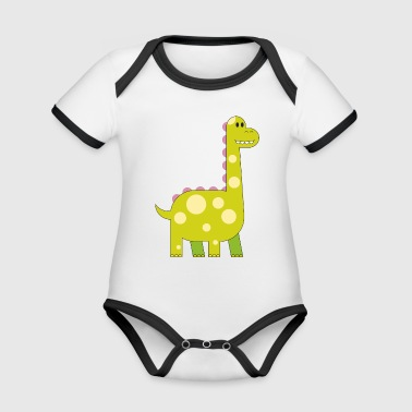 happy dinosaur cuddly toy child sweet primal time - Organic Baby Contrasting Bodysuit