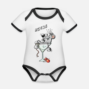 Comic Cocktail Funny Cocktail Mouse - Organic Contrast Baby Bodysuit