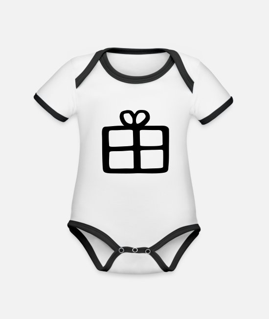 Make A Present Baby Bodysuits - gift - Organic Contrast Baby Bodysuit white/black