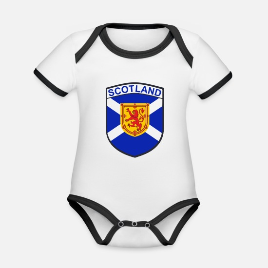 Shield Baby Clothes - scotland - Organic Contrast Baby Bodysuit white/black