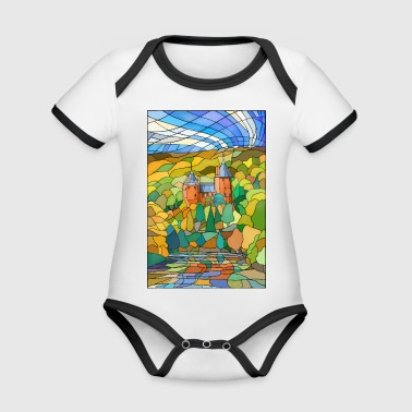 Castell Coch Reflections - Organic Baby Contrasting Bodysuit