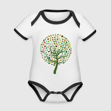 abstract tree - Organic Baby Contrasting Bodysuit
