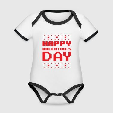 Happy Valentine's Day Ugly Sweater Romantic - Organic Baby Contrasting Bodysuit