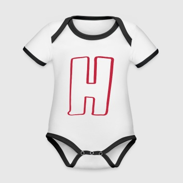 Letter H - Organic Baby Contrasting Bodysuit