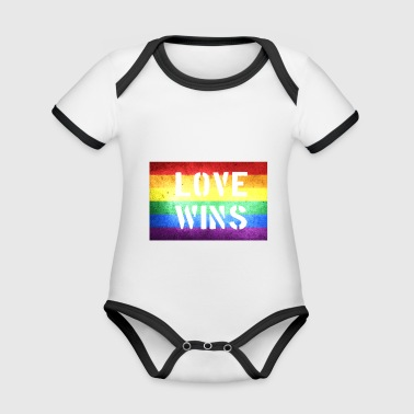 Gay marriage love wins gift - Organic Baby Contrasting Bodysuit