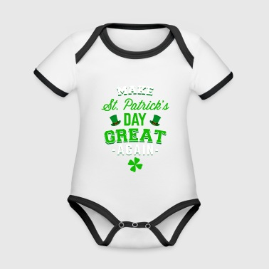 Make St. Patrick's Day great again apparel - Organic Baby Contrasting Bodysuit