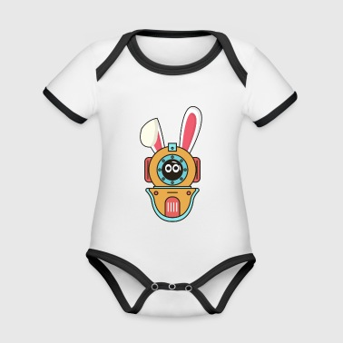 Diving diver Easter bunny Easter gift bunny - Organic Baby Contrasting Bodysuit