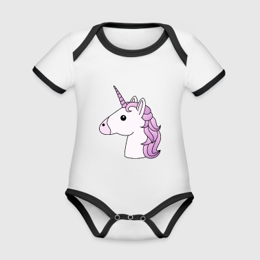 Unicorn head in lilac - Organic Baby Contrasting Bodysuit