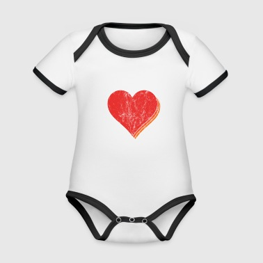 Tshirt heart valentines day gift idea shirt - Organic Baby Contrasting Bodysuit