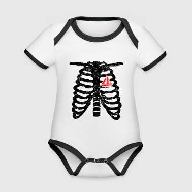Heart skeleton heart love selgel sailboat boat s - Organic Baby Contrasting Bodysuit