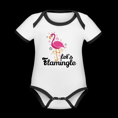 Let's flamingle Lustiges Flamingo T-Shirt Geschenk - Baby Bio-Kurzarm-Kontrastbody