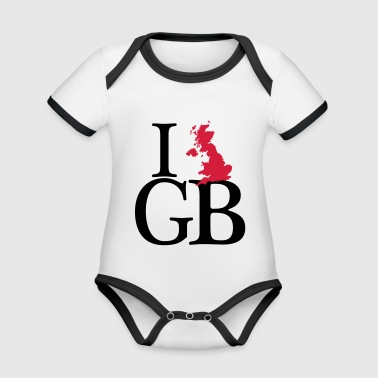 I love GB - I love Great Britain - Baby Bio-Kurzarm-Kontrastbody
