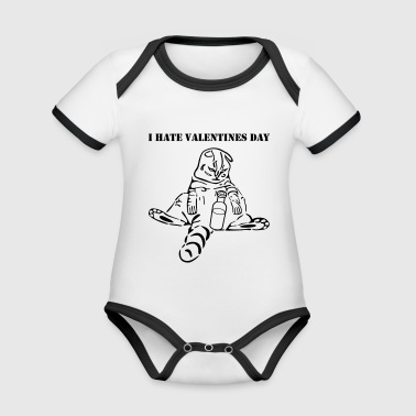 funny cat i hate valentines day - Organic Baby Contrasting Bodysuit