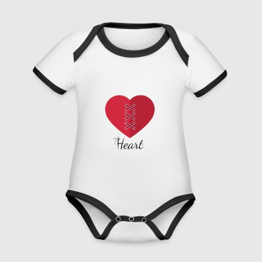 heart - Organic Baby Contrasting Bodysuit