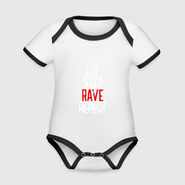 Eat Sleep rave repeat - Ekologisk kontrastfärgad kortärmad babybody