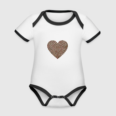 Heart coffee bean - Organic Baby Contrasting Bodysuit
