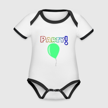 Yeahhh! Party! Balloon! - Organic Baby Contrasting Bodysuit