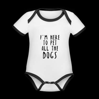 Pet all the dogs dogs lovers gift idea - Organic Baby Contrasting Bodysuit