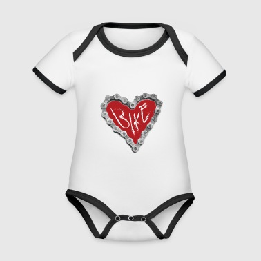 Bike heart love gift bike chain cycling - Organic Baby Contrasting Bodysuit