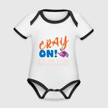 Crayon 100th Day Of Class Gift Design - Baby Bio-Kurzarm-Kontrastbody