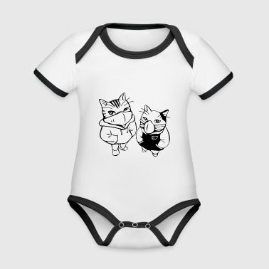 cats - Organic Baby Contrasting Bodysuit