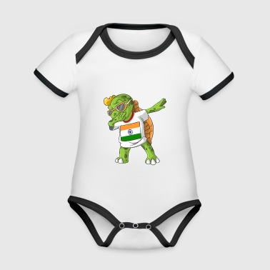 India Dabbing turtle - Organic Baby Contrasting Bodysuit