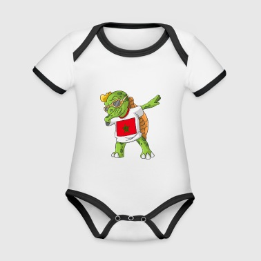 Morocco Dabbing turtle - Organic Baby Contrasting Bodysuit