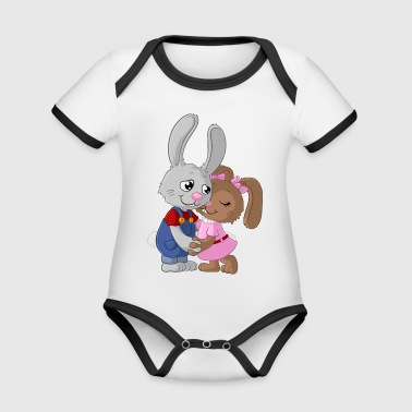Cute cartoon easter bunny couple - Organic Baby Contrasting Bodysuit
