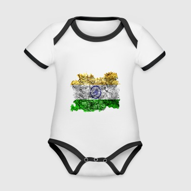 India vintage flag - Organic Baby Contrasting Bodysuit