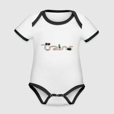 Train Set with Steam Engine and Diesel - Organic Baby Contrasting Bodysuit