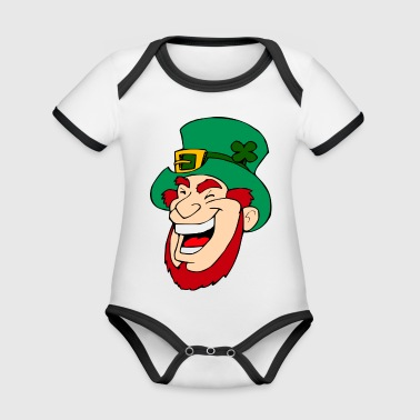 Leprechaun with green cylinder laughs. gift idea - Organic Baby Contrasting Bodysuit