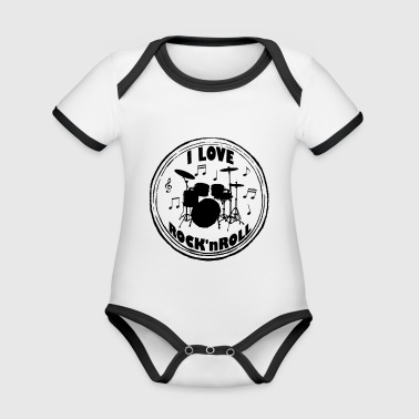 I LOVE ROCK'N ROLL VINTAGE 50TH YEARS GIFT - Organic Baby Contrasting Bodysuit