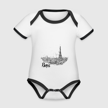 Paris - city view Sketch with Eiffel Tower - Organic Baby Contrasting Bodysuit