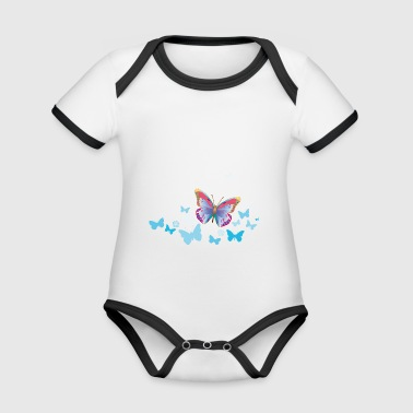Butterflies moth insects spring summer - Organic Baby Contrasting Bodysuit