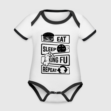 Eat Sleep Kung Fu Repeat - Kampfkunst Kampfsport - Baby Bio-Kurzarm-Kontrastbody