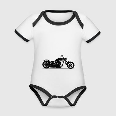 Motorcycle chopper silhouette - Organic Baby Contrasting Bodysuit