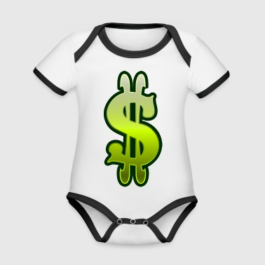 Dollar sign dollar money - Organic Baby Contrasting Bodysuit
