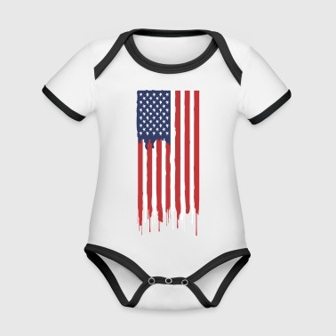 American flag - Organic Baby Contrasting Bodysuit