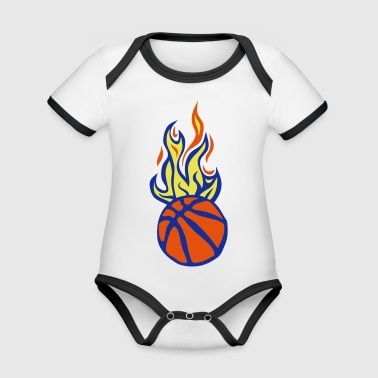 ball basketball flame fire flame cart - Organic Baby Contrasting Bodysuit
