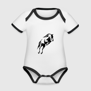 jumping horse - Organic Baby Contrasting Bodysuit