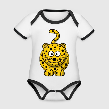 Leopard Cartoon - Baby Bio-Kurzarm-Kontrastbody