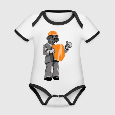 Dog with hat and shield - Organic Baby Contrasting Bodysuit