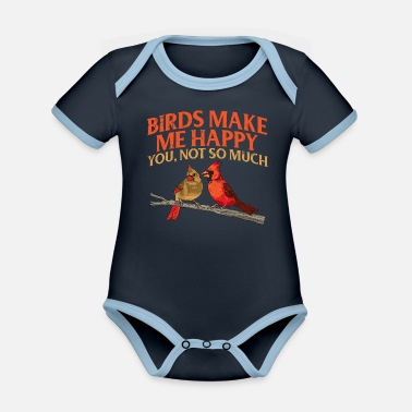 Flocked Bird Watching Orinthologist Birds make me happy - Organic Contrast Baby Bodysuit