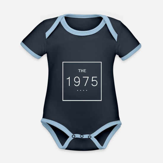 1975 Baby Clothes - The 1975 - Organic Contrast Baby Bodysuit navy/sky