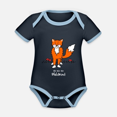 Children Naughty fox for forest kindergarten - Organic Contrast Baby Bodysuit