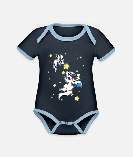 Starry Sky Baby Clothes - Ursa Major and Ursa Minor Constellation Dragons - Organic Contrast Baby Bodysuit navy/sky