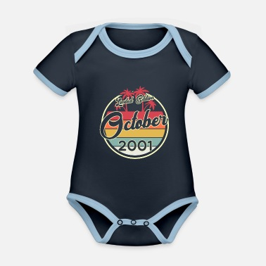 Myth Vintage 80s October 2001 19th Birthday Gift Idea - Organic Contrast Baby Bodysuit