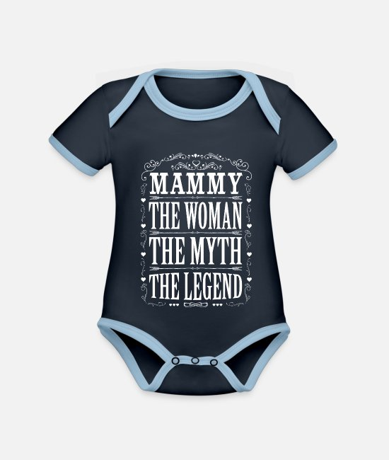 Coolest Mammy Ever Baby Bodysuits - Mammy The Legend... - Organic Contrast Baby Bodysuit navy/sky
