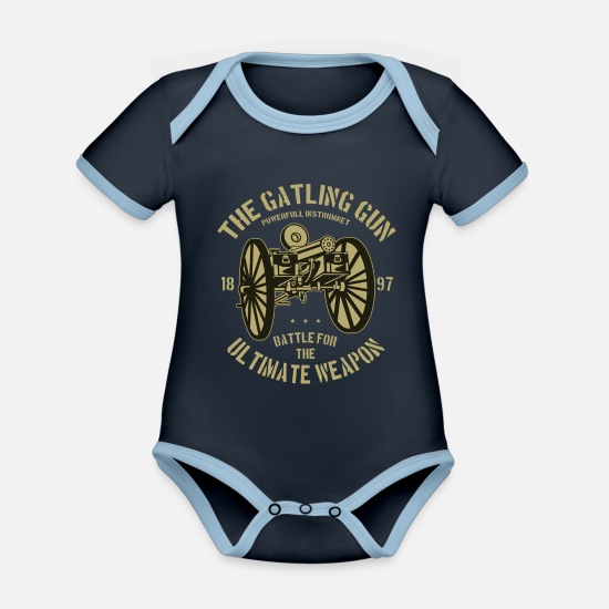 Established Baby Clothes - The Gatling Gun Ultimate Weapon - Organic Contrast Baby Bodysuit navy/sky